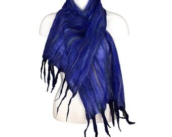 Nuno felted blue merino wool and silk chiffon scarf with tassels