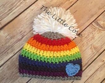Rainbow Baby Hat, Rainbow Baby, Baby Hat, Crochet Baby Hat, Newborn Photo Prop, Newborn Hat, Rainbow Hat