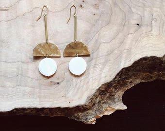 Brass + seashell modern earrings