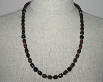 RED TIGERS EYE  Black Onyx Necklace For Men...Men's Gemstone Necklace