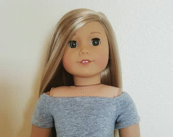 Off the shoulder knit top for 18 inch dolls by The Glam Doll - Grey