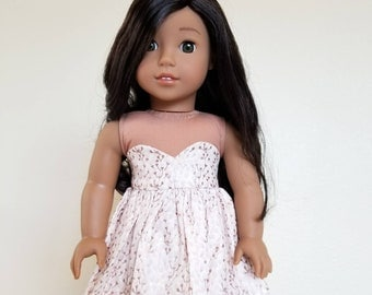 Penelope Dress for 18 inch dolls by The Glam Doll- White Taupe Floral