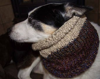 """Knit Winter Dog Scarf, Knit Dog Cowl Brown Tweed   Size Medium Measures 18"""" Circumference by 13"""" Dress up your Pooch in Style"""