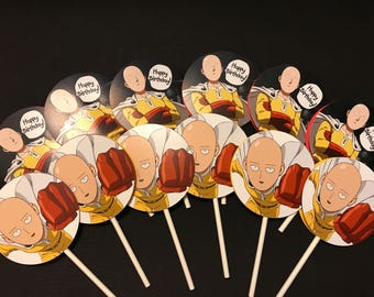 12 One Punch Man Cupcake Toppers