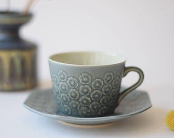 Quistgaard - AZUR Blue - tea / coffee duo - octogonal shape - cup / saucer - Kronjyden / Nissen - Danish mid century tableware
