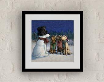"""Framed """"Snow Lab"""" Print Labrador Retriever Art 16""""x16"""""""