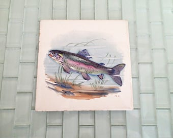 Rainbow Trout Fish Tile GERMANY Signed 6 x 6 Handpainted