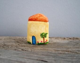 Miniature clay house, tiny cottage, rustic home decor, housewarming gift, shelf decor, one of a kind