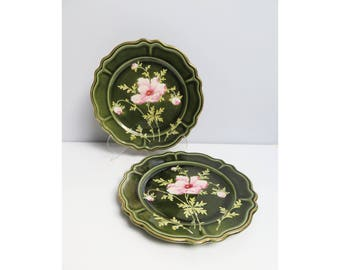 Two vintage ceramic plates, collector plates, Hand Painted Scalloped Edge Decorative Plate,  Hand Painted Rose Flower Floral Wall Plates,
