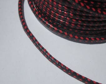 laminated cotton braided thread of red and black 3.5 mm tall (R)