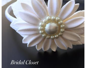 Bridal Headband, Wedding Headband, Bridal Hairpiece With Daisy, Flower Girl Headband, Wedding Hairpiece, Bridal Accessory