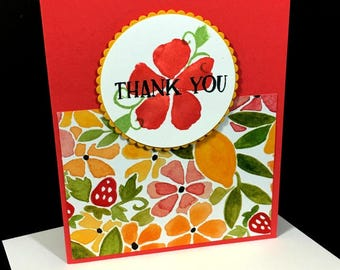 Thank You Greeting Card, Fruit and Floral, Bright Colors, Summertime Bold and Bright