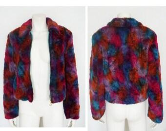 Versace Faux fur coat - gianni versace -size 6- grunge clothing- womens jacket s vintage coat- faux fur colorful jacket- tumblr clothing 90s