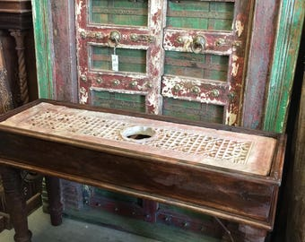 Antique Jodhpur Hand carved Haveli Stone Console  End Sofa Table Indian Furniture FREE SHIP