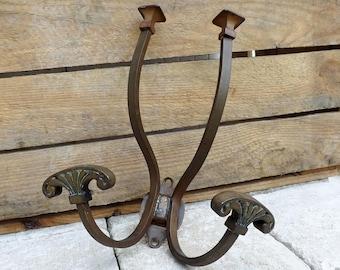 Antique bronze coat hooks French home decor double coat hooks porte manteau Edwardian Art Nouveau bronze hat and coat hooks