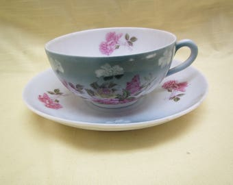 C. T. Altwasser Tea Cup and Saucer , Green / White with Roses , Germany *   ( C-20 )