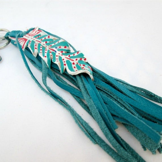 Leather Feather Key Chain in Turquoise, White and Red