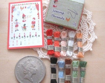 dollhouse sewing thread boxed set embroidery cross stitch pinocchio 12th scale