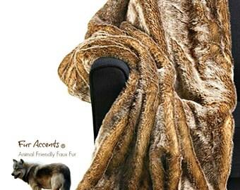 Plush Faux Fur Throw Blanket - Bedspread - Luxury Fur Medium Brown Wolf - Fur Minky Cuddle Fur Lining - Fur Accents - USA