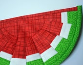 Watermelon pot holder red quilted mug rug small placemat Quiltsy handmade fabric potholder mat picnic decor kitchen decor gifts for her