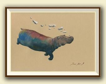 PRINT-Hippo swimming with bubbles africa - hippo nursery art wall - safari decor artwork hippopotamus - Art Print by Juan Bosco