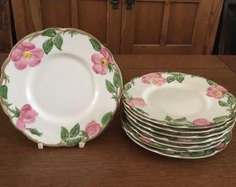 "8 Franciscan DESERT ROSE Bread Plates 6 1/4"" California Gladding McBean Mark USA"