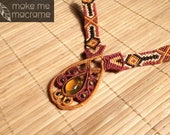 Macrame necklace with amber in tribal patterns, Free Worldwide Shipping