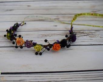Handcrafted Halloween Flower Crown - Trick or Treat Ribbon Tieback - Black Pearl Flower Crown - Halloween Headband - Lime Purple Orange