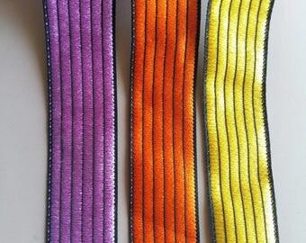 Purple / Orange / Yellow Thread Stripes On Black Fabric Trim, One Yard Lace Trim, 34mm Wide - 200317L396/97/98