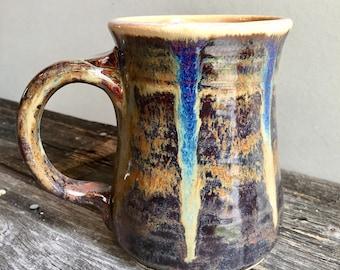 Large Mug Ceramic Handmade wheel thrown pottery stein holds 20oz