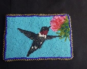 Fully Beaded Ruby Throated Hummingbird.