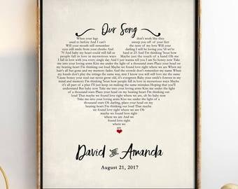 Wedding Gift Song Lyrics, 1st Anniversary Gift, Gift for Her, One Year Anniversary Gift, First Dance Song Lyrics, 10 Year Anniversary 8x10