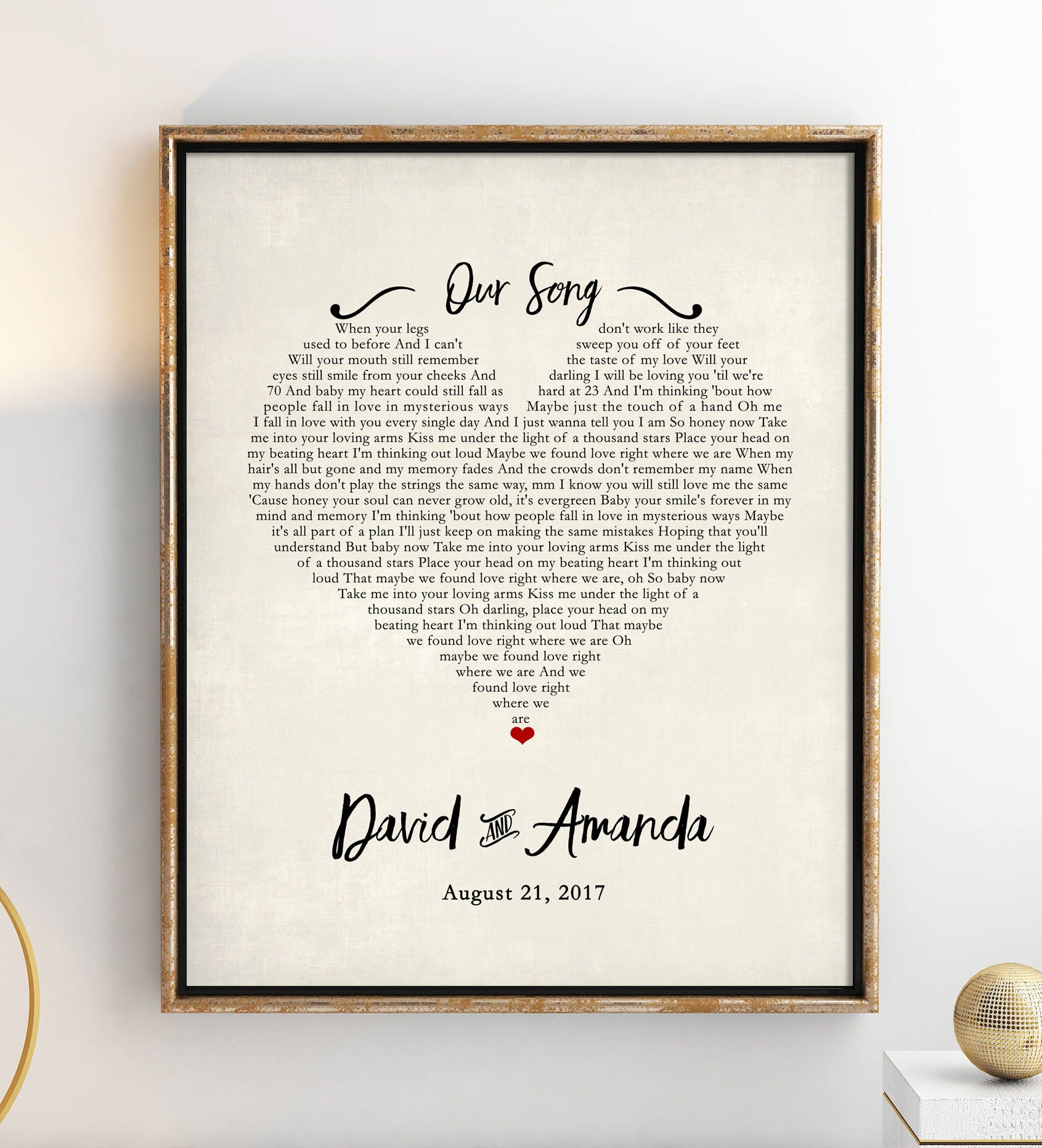 Great Wedding Gift: Wedding Gift Song Lyrics 1st Anniversary Gift Gift For Her