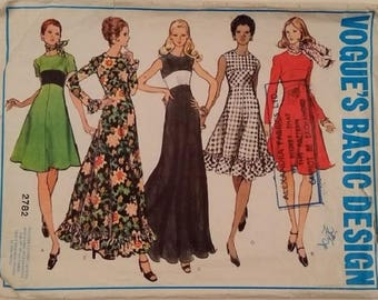 Vogue's Basic Design #2782 Vintage 70's High fitted flared Dress 4 Lengths Plain or Ruffle Edge 3 Sleeve Options Sewing Pattern Size UK 16