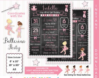 Ballerina Printable Chalkboard | Blonde and Brown Hair | 1st 2nd 3rd Birthday | Personalized Poster | Instant Download & Edit in AdobeReader