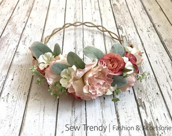 Anistyn Flower Crown • Blush Rose Crown • Wedding Flower Crown • Blush Pink Floral Crown | Ready To Ship