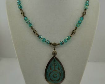 Teal and Bronze color Necklace set.