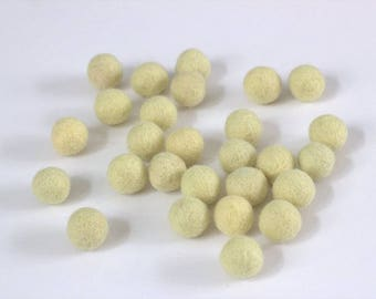 Butter Yellow Wool Felt Balls, Approx. 2 cm - Felt Pom Poms- 65 pieces