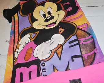 OOAK Upcycle Neon Mickey Mouse Hoodie T-shirt Dress/Tunic 3-6