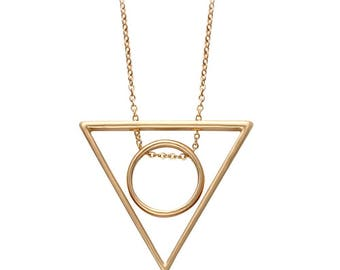 Geometric Necklace, triangle circle necklace - silver or gold necklace - minimalist necklace, tribal necklace, harry potter, deathly hallows