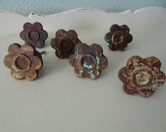 Iron Chippy Rusty Aqua Pink FLOWER KNOBS - Rustic BoHo Metal Distressed Drawer Pulls - Daisy Floral Cast Iron