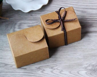 40x Natural Kraft Paper Boxes | Bomboniere Favour Box | Wedding & Party Christmas Gift Box for Chocolate Bakery Cookie Candy 7.5x6x5