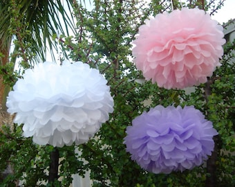 18x Mixed Size Pink Lilac White Tissue Paper Pom Pom - Wedding Baby Girl Baby Shower Fairy Birthday Party Bridal Shower Decoration