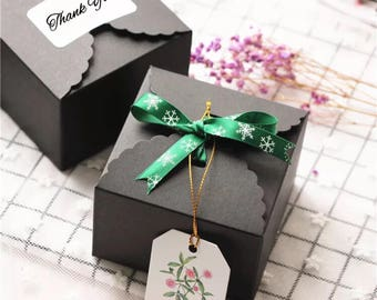 30x black paper boxes for wedding party Christmas cake cookies candy chocolate gift wrapping 9x9x6cm