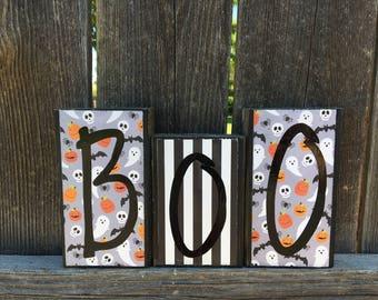 Boo wood blocks-halloween blocks, halloween decor, ghost blocks