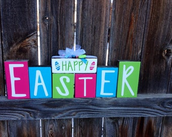 Happy Easter wood blocks-- Easter eggs, Easter blocks, Easter decor, Hoppy Easter blocks
