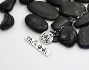 I Love My Sailor Hand Stamped | Custom | Necklace