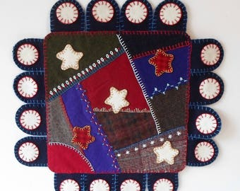 Patriotic Felted Wool Penny Rug