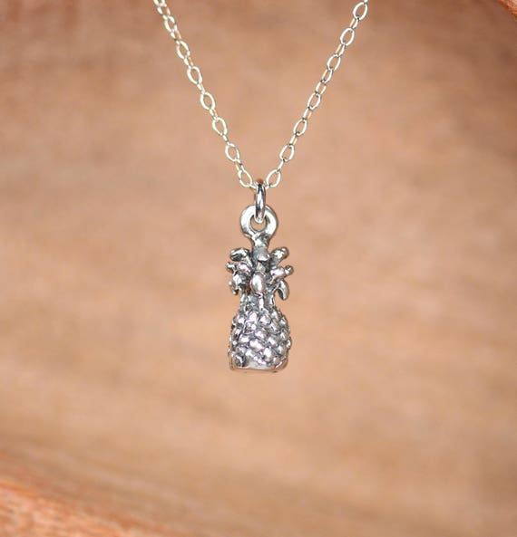 Pineapple necklace - sterling silver pineapple necklace - fruit jewelry - cute necklace