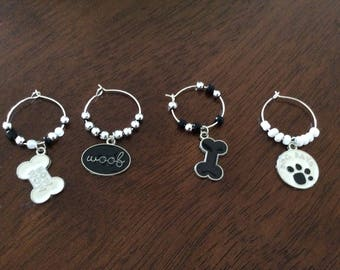 Wine Glass Markers with Dog Charms